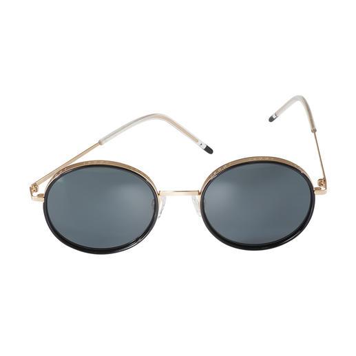 Joop! zonnebril round-design Trendtrio 2019: een rond retromodel, een breed goudkleurig montuur en moderne ultralichte veren. Van JOOP!.