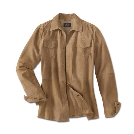 Leren jack met klimaatcomfort Het leren jack voor de zomer–licht en luchtig als een overhemd. Weegt slechts 660g. Van ragfijn geitensuède.