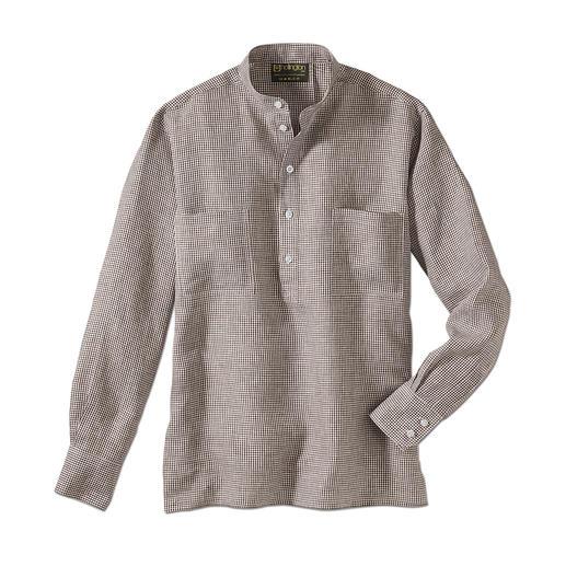 Nehru-overhemd van linnen Hollingtons originele overhemd met staande kraag.