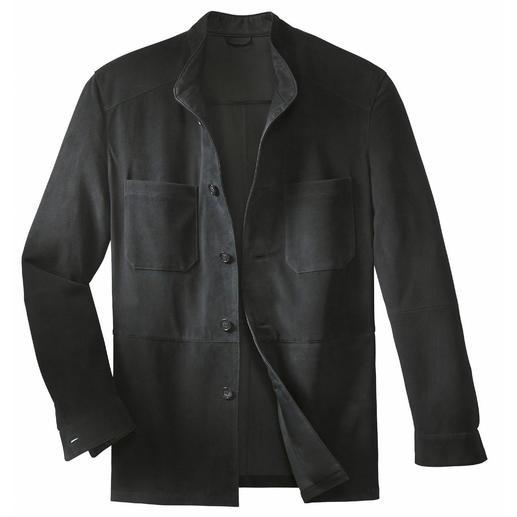 Overhemdjasje van rendierkalfsleer Een degelijk leren jasje– zo licht als een overhemd. Weegt slechts 650gram.