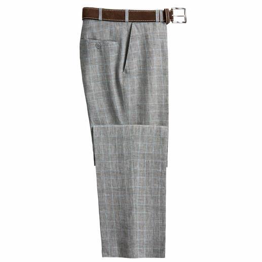 Bottoli's linnen glencheck-pantalon - Past bij vrijwel alles wat u al een hele tijd in uw garderobekast heeft hangen.