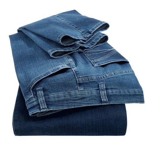 Magic-Jeans De magic-jeans vormt uw figuur als een modellerende broek – maar zit desondanks heel comfortabel.