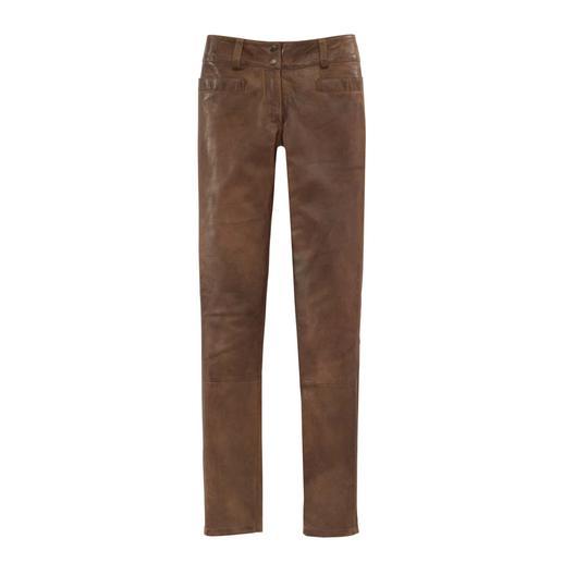 Vintage broek van lamnappaleer Zacht lamsleer, exquis afgewerkt en met de hand gefinisht.