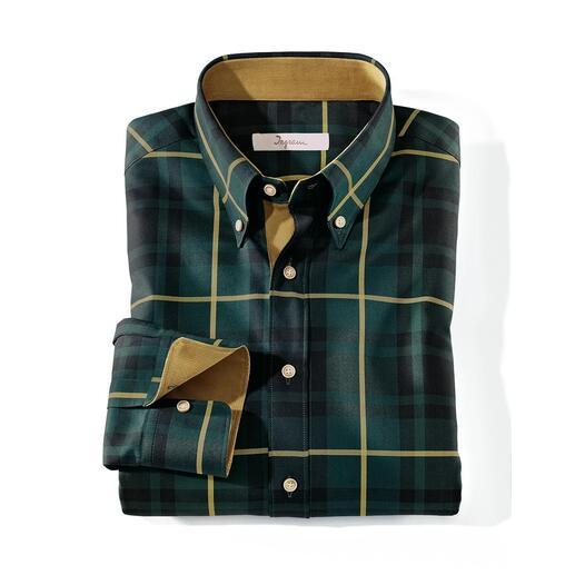 Ingram tartan overhemd Actueel tartandesign. Zelfs voor edele colberts fijn genoeg. Gedekte kleuren. Edele stof. Hoogwaardige details