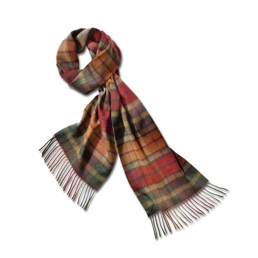 De Autumn Buchanan sjaal De Autumn Buchanan ruit van zuivere kasjmier. Eeuwenoud – en opnieuw ontdekt.