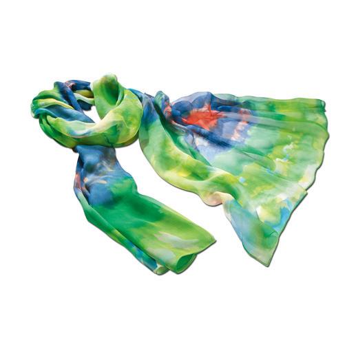 Zijden aquarelsjaal De mooiste kleuren van de zomer – vereeuwigd in fragiele zijden georgette. Royale 2 meter lang. 24 gram licht.
