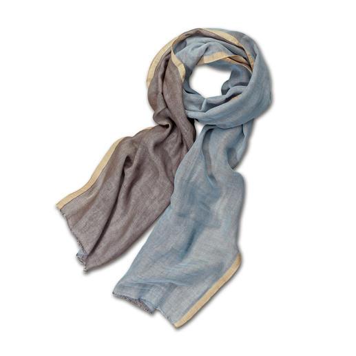 alpi double-face-sjaal Twee kleuren, oneindige combinaties. Vederlicht. En veel stijlvoller dan gewone katoenen sjaals. Van Alpi.