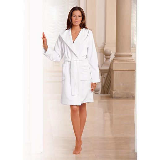 Doubleface-badjas, wit Buitenkant van zijdeachtige microfiber-velours. Binnenkant van absorberende badstof.