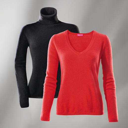 FTC kasjmieren V-pullover of -coltrui Luchtig als een shirt. Maar van het fijnste donszachte kasjmier.