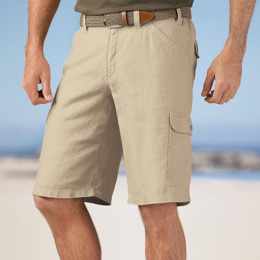 Hoal linnen cargobermuda - De perfecte vakantiebroek: Luchtig licht. Met comfortband en 7 handige zakken.