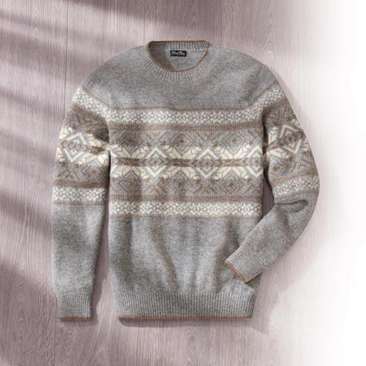 Baby-alpaca Noorse pullover Donszacht. Licht. Geschikt voor binnenshuis en onder colberts. Van de alpacaspecialist Clark Ross.