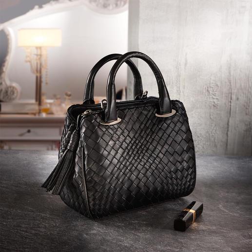 Fontanelli mini-bag van lamsnappa Met de hand gevlochten en met de hand in elkaar gezet. Van superzacht lamsnappaleer.