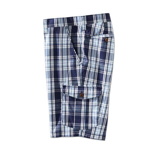 Eurex by Brax glencheck-bermuda De stijlvolle manier om een geruite korte broek te dragen. Maritieme kleuren. De juiste lengte.
