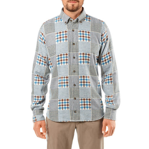 DU4 patchwork-overhemd van flanel
