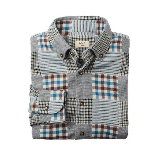DU4 patchwork-overhemd van flanel Ook heel geschikt als warm overshirt: het exclusieve 'zwaargewicht' onder de flanellen overhemden.