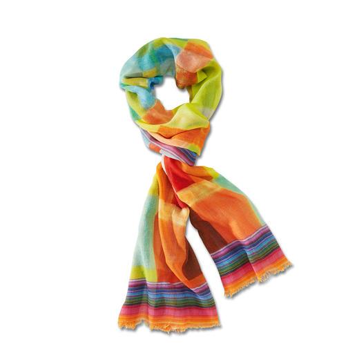 Meerkleurige sjaal voor het hele jaar Niet te dun. Niet te warm. En qua kleur altijd goed. Van wol met zijde.