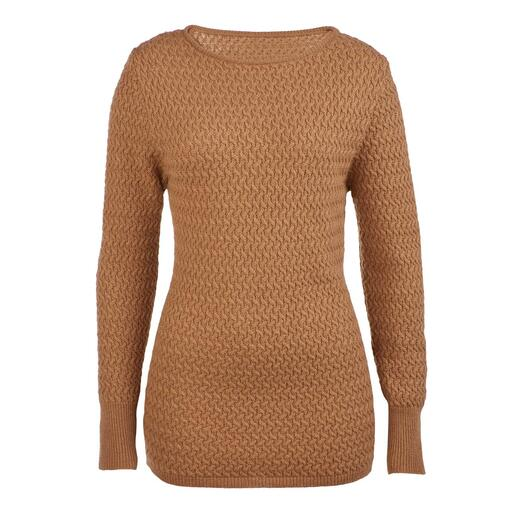 Kameelharen trui Een luxueus unicum: de trui van 100% kameelhaar. Gesponnen in Engeland. Gebreid in Europa.