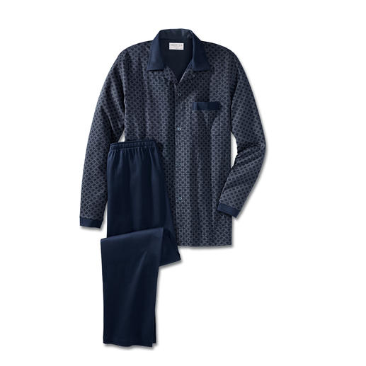 NOVILA nette pyjama, blauw De comfortabele nette pyjama. Hierin mag u gezien worden. Van zachte katoen-jersey.