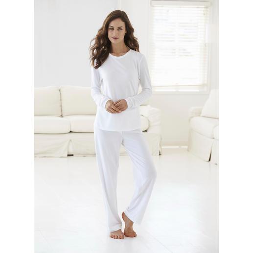 Cornelie Weiss loungewear-pak - Perfect voor de zomer: het witte loungewear-pak van luchtig katoen/modal-piqué.