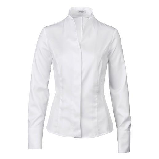 van Laack kelkkraag-blouse Een echte klassieker – en toch zo moeilijk te vinden. Perfect te combineren met alle vestvormen.