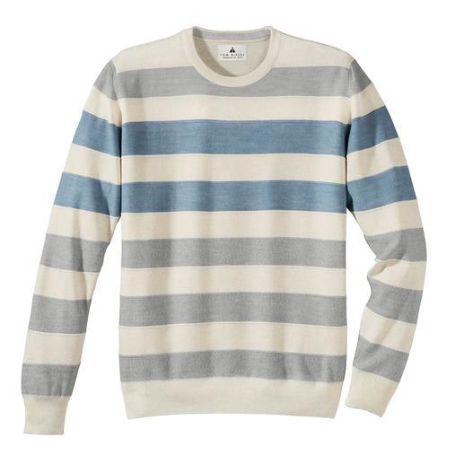 Stereo-System®-trui met strepen De fijne gestreepte merinotrui, die niet kriebelt. Het Stereo-System®-breisel met katoenen binnenkant.