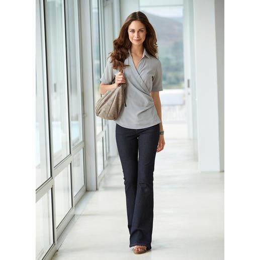 van Laack wikkelblouse van stretch-zijde De betere zijden blouse is elastisch, de betere wikkelblouse blijft goed zitten.