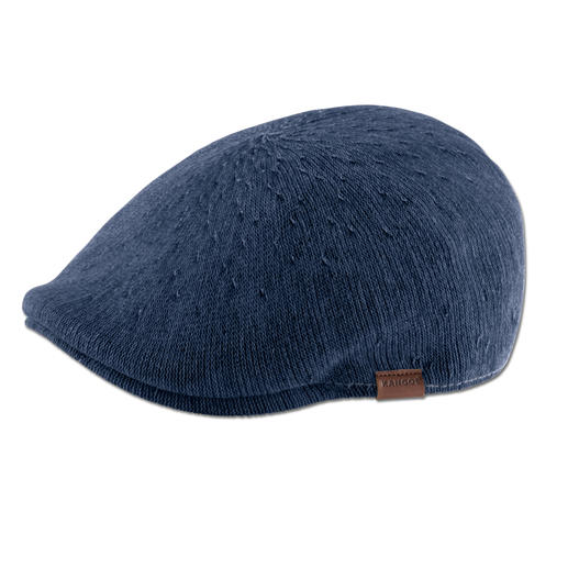 Kangol® pet van denim, indigo Modieus smal model. Luchtig breisel. Casual denim-look. De pet van de Engelse hoedenmaker Kangol®, sinds 1938.