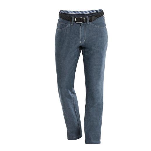 Five-pocketsbroek van linnen/katoen Eindelijk: een broek van luchtig linnen en katoen met de strakke pasvorm van een jeans.