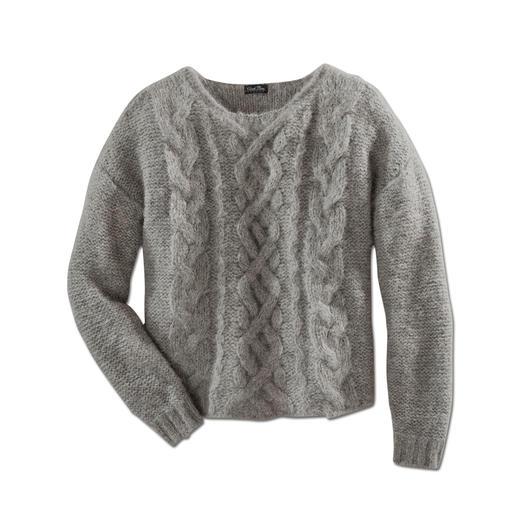 Grofgebreide trui met alpaca 'Slim Line' - Zeldzame creatie: de smalle, lichte uitvoering van de modieuze grofgebreide trui.