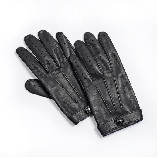 Dents gentleman-handschoenen Aan de handschoenen van Dents herkent men de gentleman. Superfijne leren handschoenen uit Groot-Brittannië.