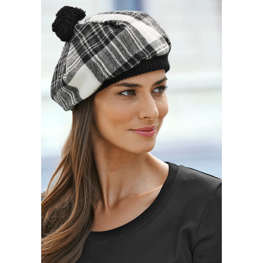Lochcarron Schotse muts, zwart/wit Traditierijk Stewart Dress-tartan. Zuivere lamswol. Made in Scotland.
