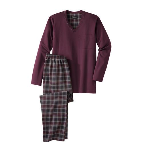 Novila gentleman-pyjama, bordeaux/grijs Comfortabel, luchtig, chic. Heerlijk zacht jasje van jersey + een broek van lichte twill.