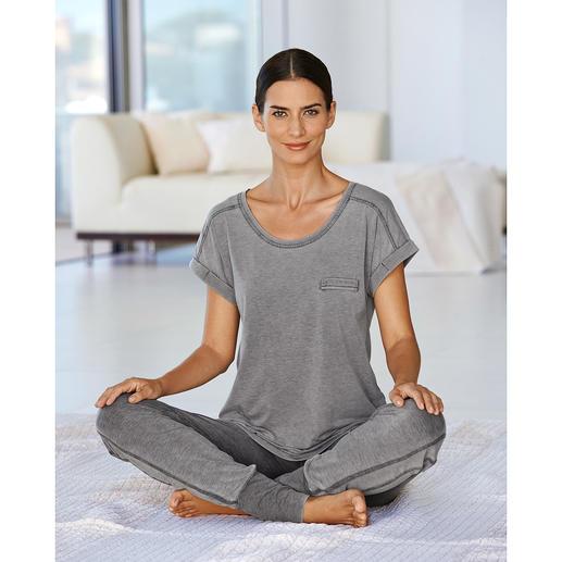 Stonewashed-hoody, -shirt of -jerseybroek Per stuk geverfd en trendy stonewashed: elk exemplaar is uniek.