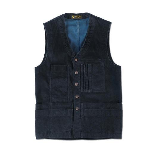 Hollington 19-zakken-ribcordvest Onverminderd praktisch sinds de jaren 70. Nu weer helemaal in de mode.