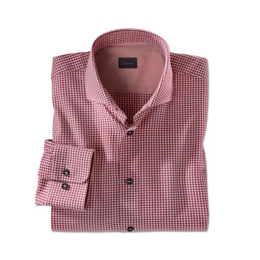 Dorani overhemd van light-flanel, bordeaux Zacht en warm als flanel. Maar veel lichter, fijner en gemakkelijker te combineren.