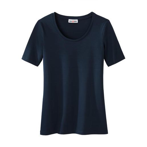 Basic shirt, korte of lange mouwen swiss+cotton swiss+cotton is vormvast en kleurecht, heerlijk glad en prettig elastisch.