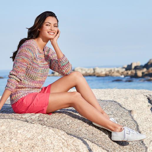 Katoenen multicolour-trui 15 kleuren, goed voor ontelbaar veel combinaties. Van katoen dat met de hand geverfd is.