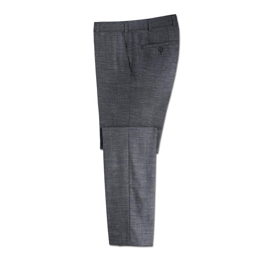 Hoal broek van kostuumstof 'Tropical' - Geschikt voor kantoor en zomers licht. Moderne broek van kostuumstof met zijde en linnen.