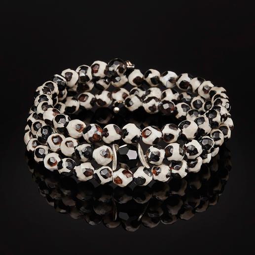 langani armband van Tibet-agaat Armband van edelstenen van zeldzaam Tibet-agaat: elke kraal is uniek.