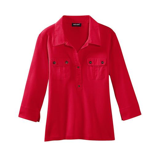 Saint James blouse-shirt Van zachte interlock-jersey met geconfectioneerde boord. Van Saint James, Frankrijk.