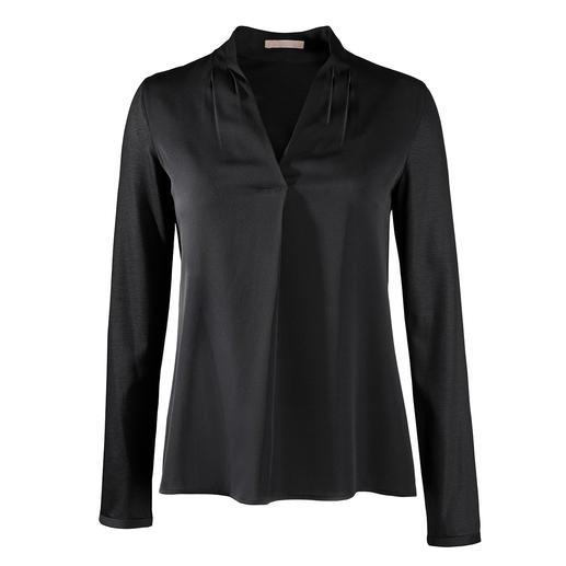 Strenesse blouseshirt, V-hals Elegant als een blouse. Comfortabel als een shirt. Geraffineerde mix van jersey en satijn. Van Strenesse.