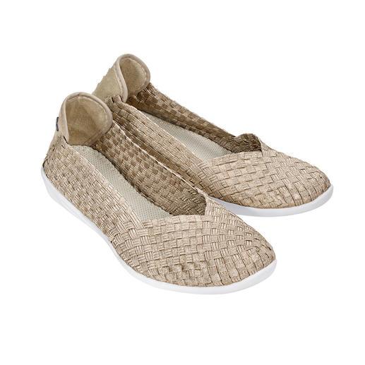 bernie mev. gevlochten ballerina's, goudbeige De modehit uit New York: sportieve, gevlochten ballerina's van de 'Master of woven Footwear', bernie mev.