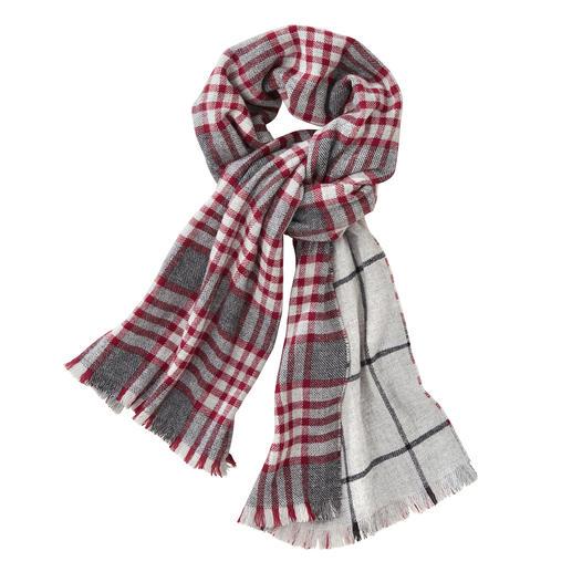 Johnstons geruite doubleface-sjaal, rood/grijs Eén luxueuze doubleface-sjaal. Twee klassieke dessins. Van Johnstons of Elgin, Schotland, traditie sinds 1797.