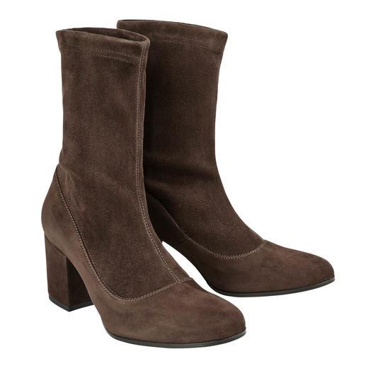 MA&LÒ stretchlaarsjes Modieuze laarjes van stretch-suèdeleer – duurzaam dankzij hoogwaardig, Italiaans schoenmakershandwerk.