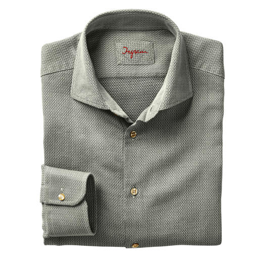 Ingram jacquard-overhemd 'micro-dessin' Modieus saliegroen. Jacquardgeweven microdessin. Van Ingram.