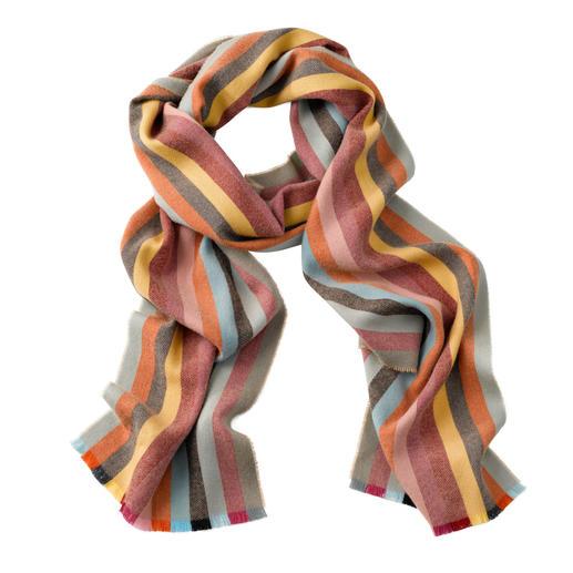 Johnstons gestreepte sjaal van 265 cm Bijna niet te geloven, dat het 'slechts' merinowol is. Van Johnstons of Elgin, Schotland.