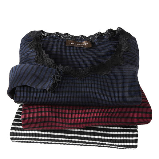 Rosemunde Copenhagen gestreept shirt met kant De chique variant van het gestreepte basic shirt. Luxueuze zijde-jersey. Van Rosemunde Copenhagen.