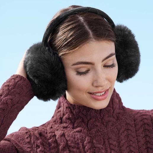 UNECHTA oorwarmers van fake-fur Trendy fake-fur-oorwarmers van UNECHTA – de Duitse specialist in luxueuze accessoires van imitatiebont.