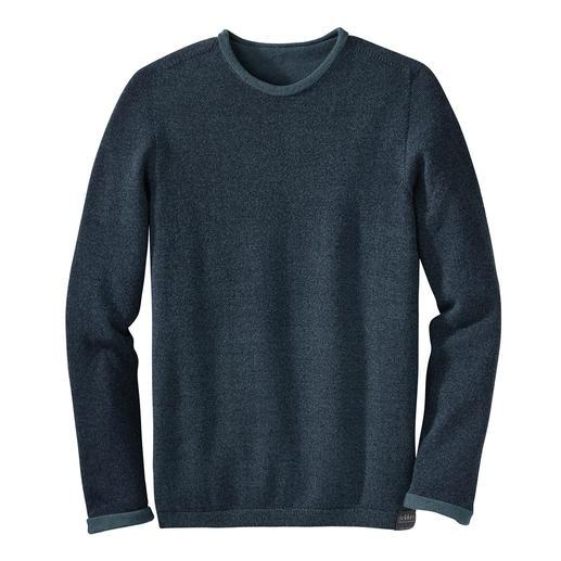 Seldom naadloos verwerkte, keerbare trui Uni of gemêleerd. Merino-scheerwol of Giza-katoen. Deze chique keerbare trui heeft twee modieuze looks.
