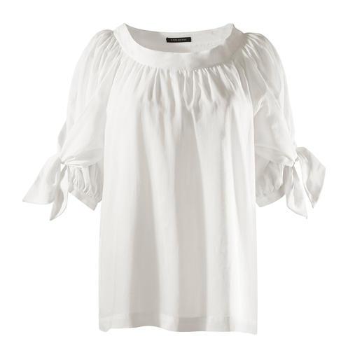 Strenesse blouse van katoen-batist Modieus veelzijdig model onder de katoenen blouses met statement-mouwen. Van Strenesse.